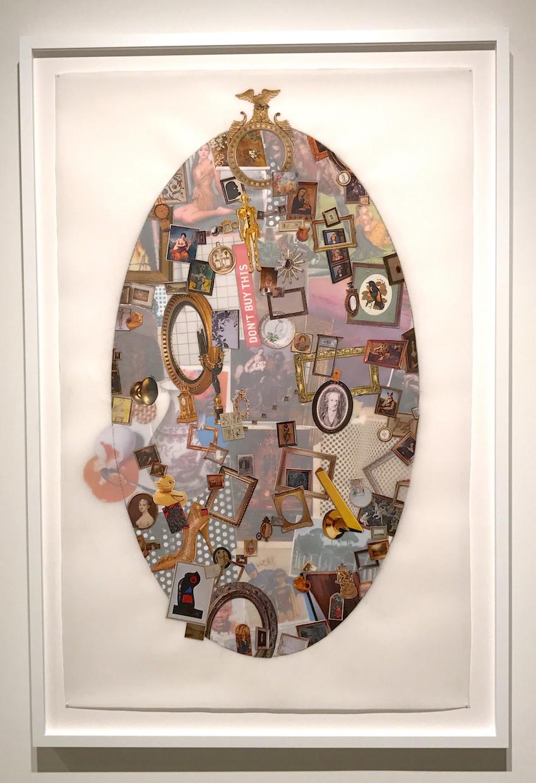 "Goethe's Goose (Fuddled Fabergé), 2017, Hand-cut collage on mylar, 50""x32"""