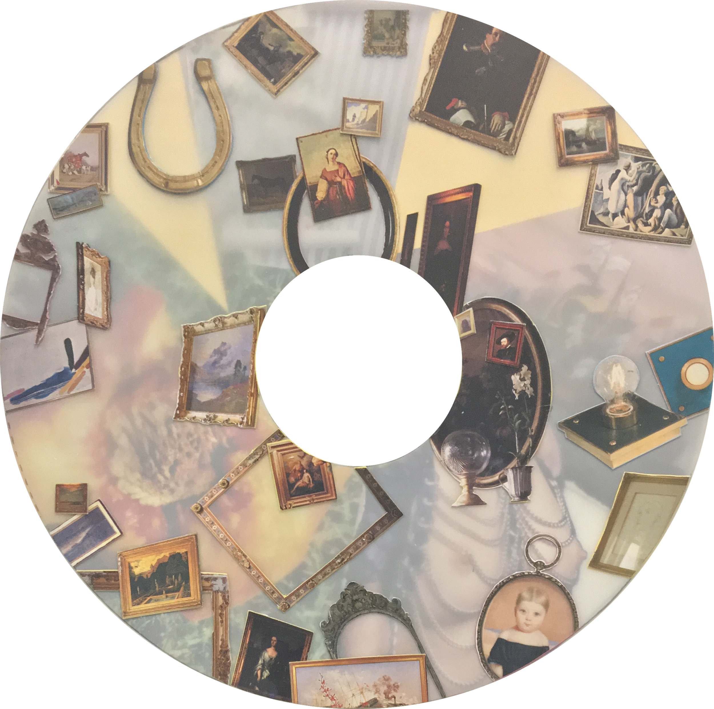 "Sciopticon (Annulus) IV, 2016, Hand-cut collage on mylar, 22""x22"""