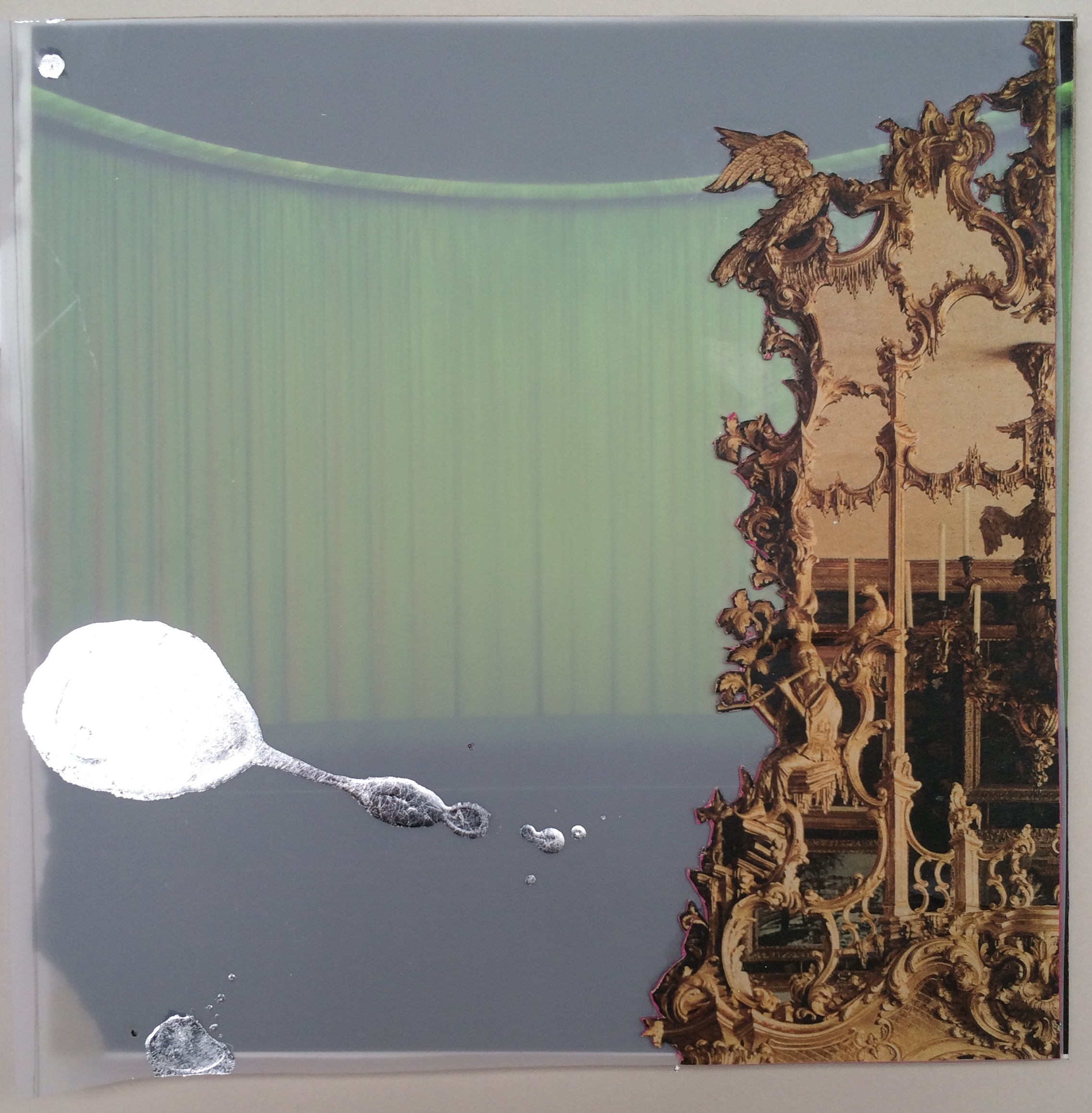 Stage of Place, 2015, hand-cut collage and latex on mylar, 8″x8″