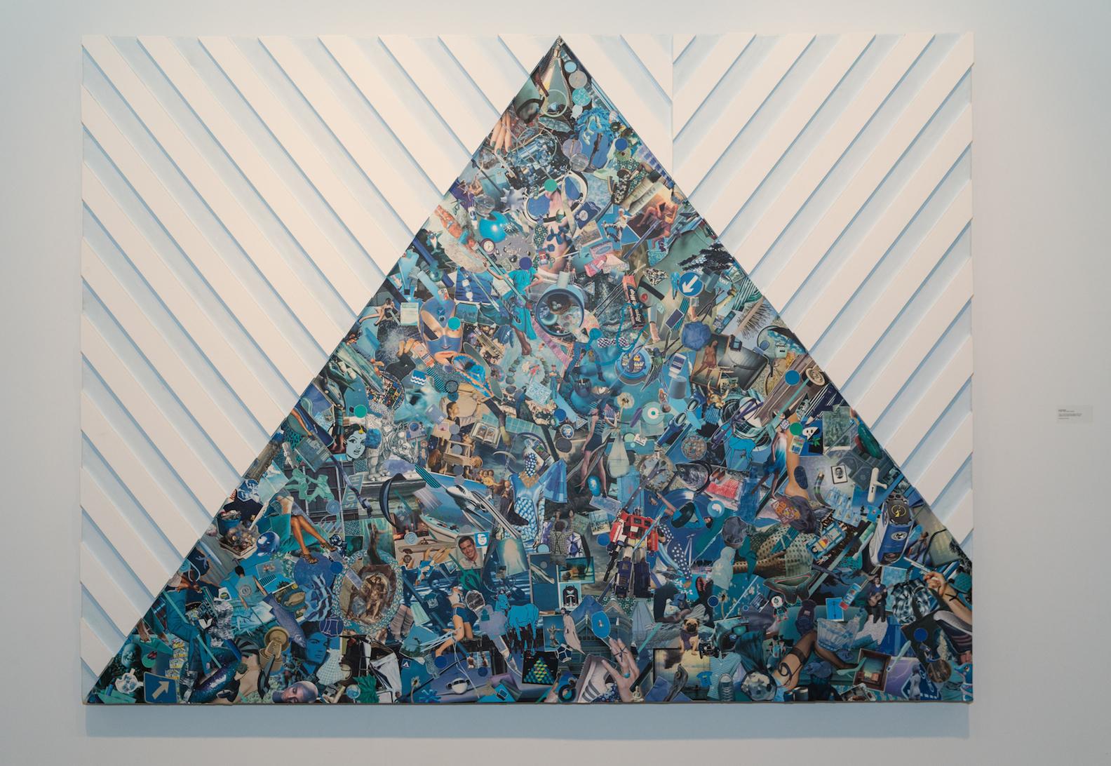 "FullCRUMB (azure die agony all), 2013, wood wax latex collage on wood, 74x100"""
