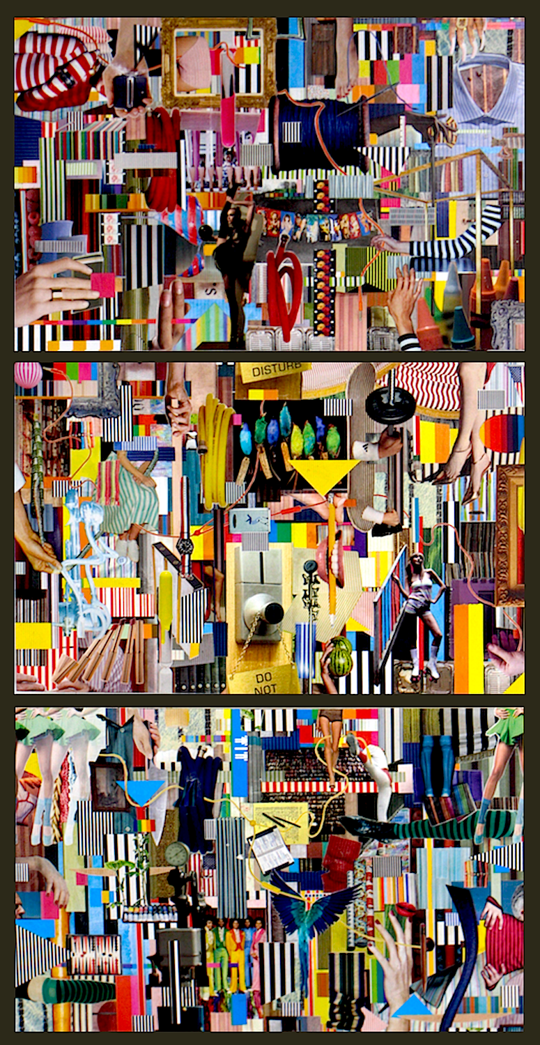 "Colorstorm Premium (Triptych), 2014, hand-cut collage on wood, 56"" x 28"""