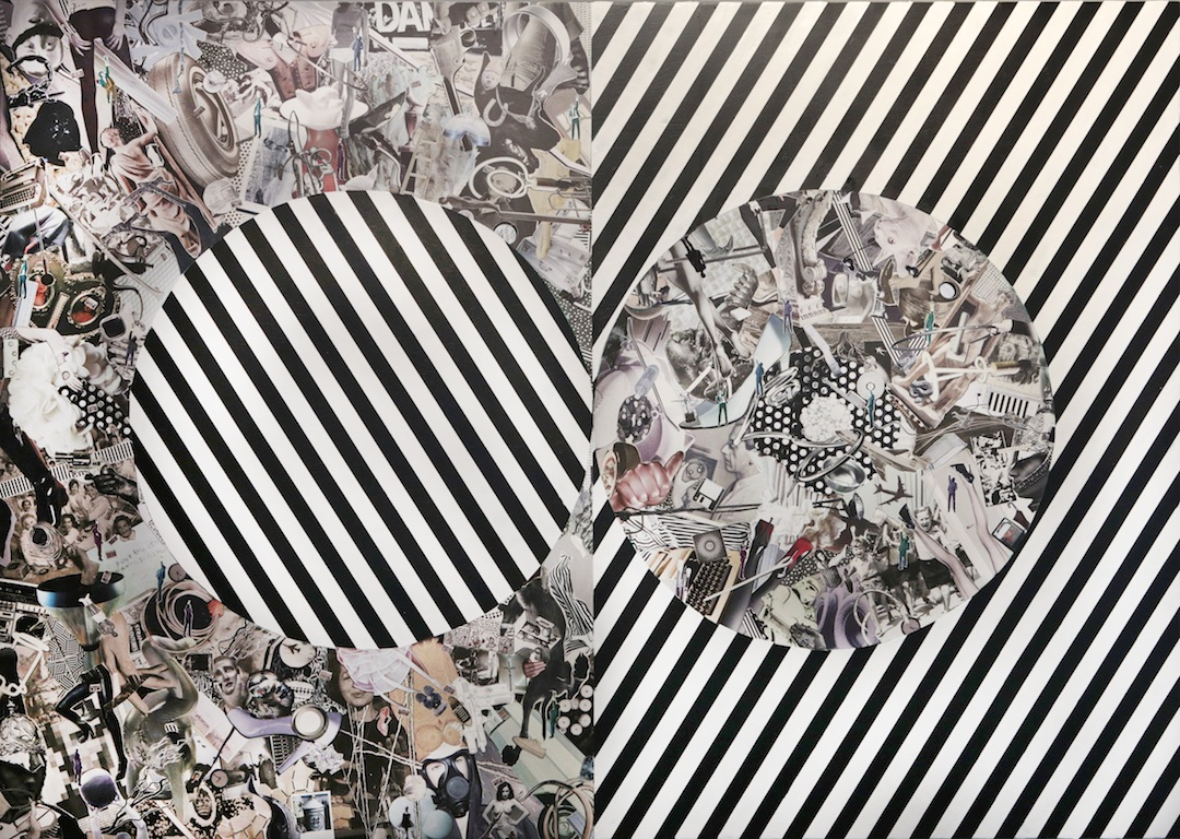 Myopic-Zygotic Monochromatic, 2012, hand-cut collage, wax, oil on wood, 48x68""