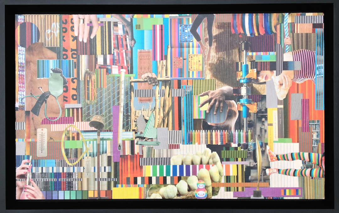 "Pattern-al Instinct (Gee's Bend), 2013, collage on wood, 24x36"""